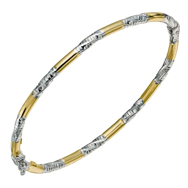 Together Bonded Silver &  9ct Yellow Gold Twist Bangle - Product number 9690697