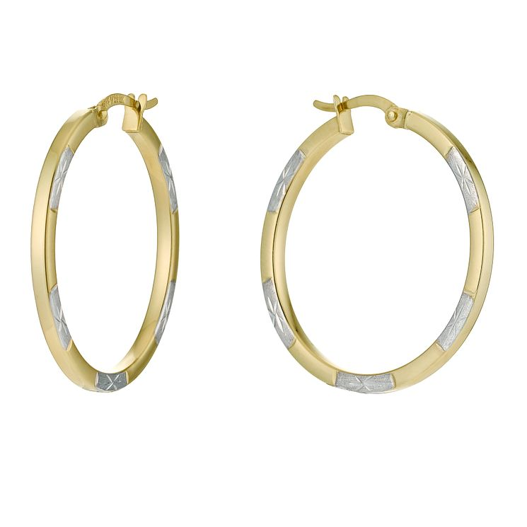 Together Silver & 9ct Bonded Gold Creole Earrings - Product number 9690832