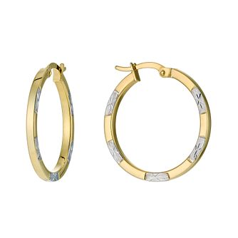 Together Silver & 9ct Bonded Gold Creole Earrings - Product number 9690859