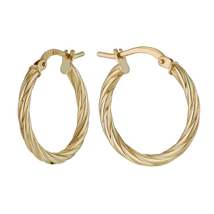 Together Silver & 9ct Bonded Gold Twist Creole Earrings - Product number 9690891