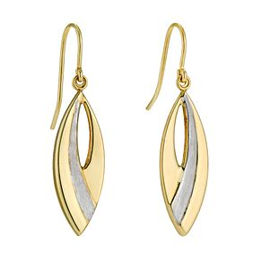 Together Silver & 9ct Bonded Yellow Gold Drop Earrings - Product number 9690948