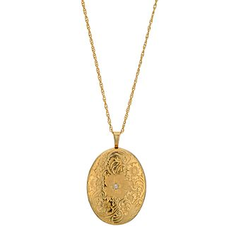 Silver & 9ct Yellow Gold Oval Diamond Set Locket - Product number 9691103