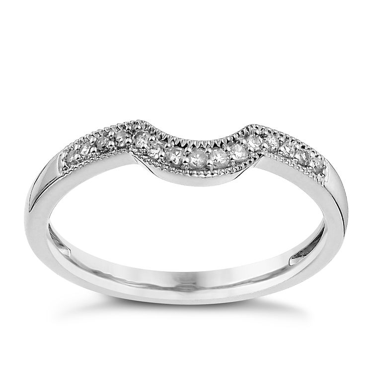 Shaped wedding band Diamond Ernest Jones