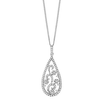 9ct White Gold 1/3 Diamond Filigree Pendant - Product number 9728465