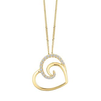 9ct Yellow Gold 0.10ct Diamond Heart Pendant - Product number 9728481