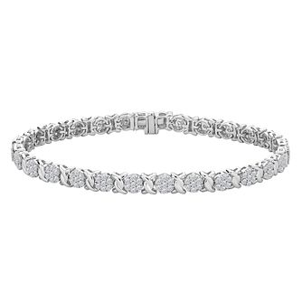 9ct White Gold 2ct Round Diamond Bracelet - Product number 9728503
