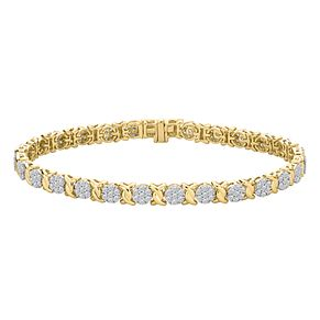 9ct Yellow Gold 2ct Round Diamond Bracelet - Product number 9728511