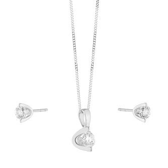 9ct White Gold 1/2ct Diamond Earring & Pendant Set - Product number 9728708