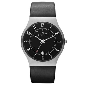 Skagen Men's Black Dial Black Leather Strap Watch - Product number 9732020