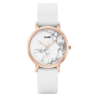 Cluse Ladies La Roche Rose Gold Case White Marble Dial Strap - Product number 9733957