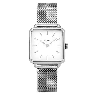 Cluse Ladies La Garconne Silver Case White Square Dial Watch - Product number 9733973