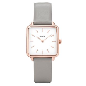 Cluse Ladies' La Garconne Rose Gold Grey Leather Strap Watch - Product number 9733981