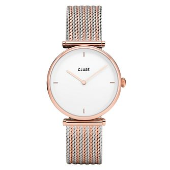 Cluse Ladies Triomphe Rose Gold Two Tone Mesh Bracelet Watch - Product number 9734015