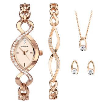 Sekonda Ladies' Rose Gold Tone Twist Watch & Jewellery Set - Product number 9734295