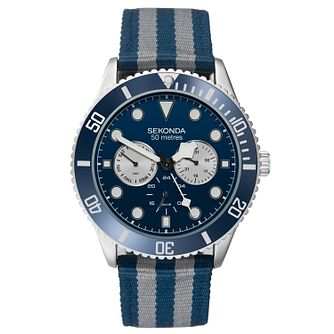 Sekonda Men's Blue & Grey Multi-Function Stripe Strap Watch - Product number 9734376