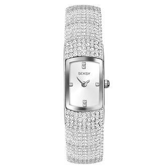 Seksy Rhodium Plated Stone Set Bracelet Watch - Product number 9734759