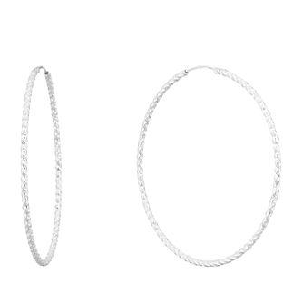 Silver 70mm Diamond Cut Hoops - Product number 9735275