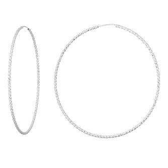 Silver 80mm Diamond Cut Hoops - Product number 9735283