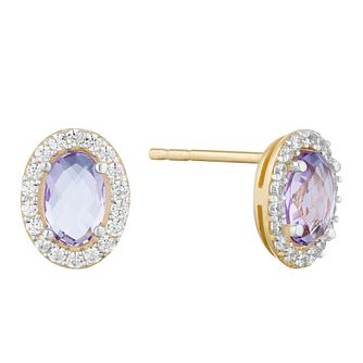 9ct Yellow Gold Amethyst  & Cubic Zirconia Oval Earrings - Product number 9735771