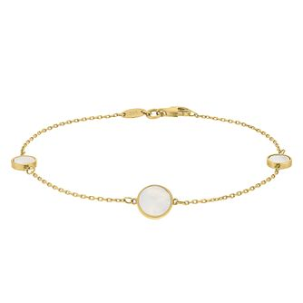 9ct Yellow Gold Mother of Pearl Circle Bracelet - Product number 9735844