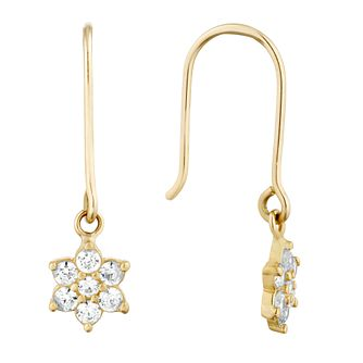 9ct Yellow Gold Cubic Zirconia Daisy Drop Earrings - Product number 9736670