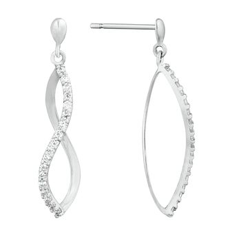 9ct White Gold Cubic Zirconia Twisted Drop Earrings - Product number 9736727