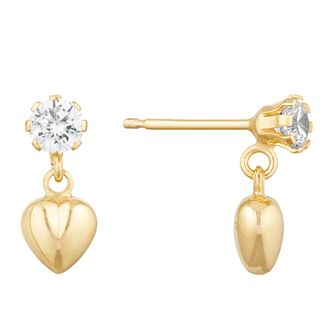 9ct Yellow Gold Cubic Zirconia Puff Heart Stud Earrings - Product number 9737138