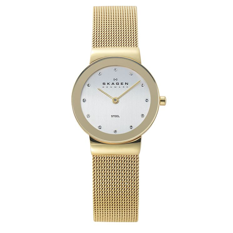 Skagen Ladies' White Dial Gold Plated Mesh Bracelet Watch - Product number 9737553