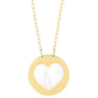 9ct Yellow Gold Mother of Pearl Hearts Drop Necklace - Product number 9738371