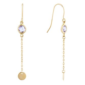 9ct Yellow Gold Amethyst Disc Drop Earrings - Product number 9741119