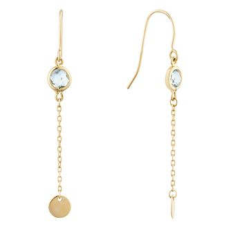 9ct Yellow Gold Sky Blue Topaz Disc Drop Earrings - Product number 9741127