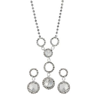 Crystal Drop Necklace & Earring Two Piece Set - Product number 9741577