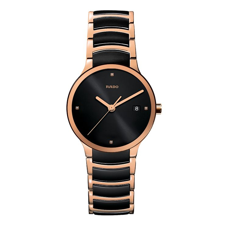 Rado Centrix men's black ceramic and rose gold PVD watch - L - Product number 9741879