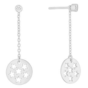 Silver Cubic Zirconia Star Cut-out Drop Earrings - Product number 9742204
