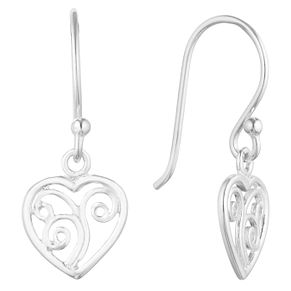 Silver Heart Filigree Drop Earrings - Product number 9742255