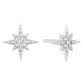 Silver Cubic Zirconia Polar Star Stud Earrings - Product number 9742352