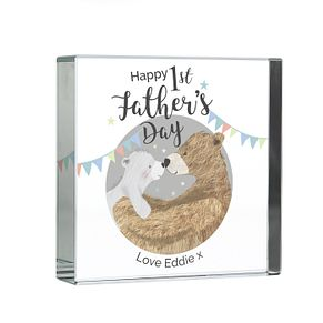 Personalised 1st Father's Day Daddy Bear Large Crystal Token - Product number 9746153
