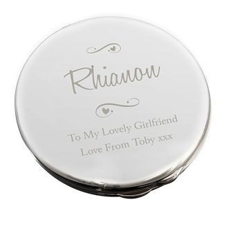 Engraved Any Message Swirls & Hearts Compact Mirror - Product number 9746218