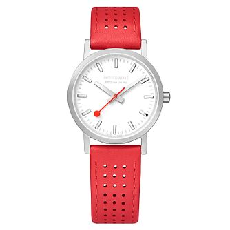 Mondaine Red Leather SBB Classic Strap Watch - Product number 9746536