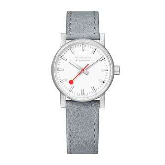 Mondaine SBB evo2 Ladies' Grey Leather Strap Watch - Product number 9746587