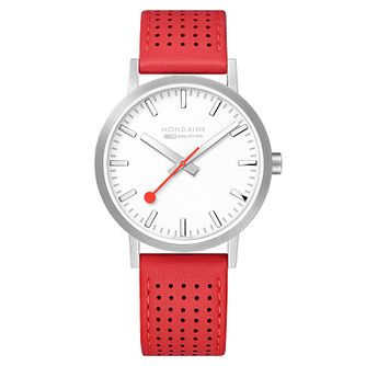 Mondaine Red Leather SBB Classic Strap Watch - Product number 9746617