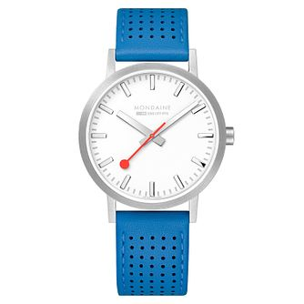 Mondaine Blue Leather SBB Classic Strap Watch - Product number 9746625