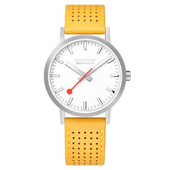 Mondaine Yellow Leather SBB Classic Strap Watch - Product number 9746633