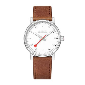 Mondaine SBB evo2 Ladies' Brown Leather Strap Watch - Product number 9746641