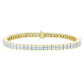 9ct Yellow Gold Five Carat Princess Cut Diamond Bracelet - Product number 9749810
