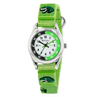 Tikkers Silver Case Green Dinosuar Rip Strap Time Watch - Product number 9751904