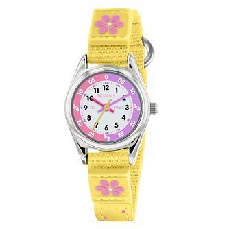Tikkers Silver Case Yellow Flower Rip Strap Time Watch - Product number 9751912