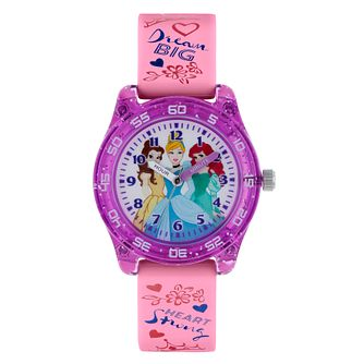 Disney Princess Purple Case Pink Strap Time Teacher Watch - Product number 9751998