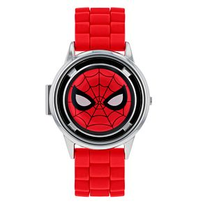 Spiderman Silver Flip Case Red Rubber Strap Watch - Product number 9752005