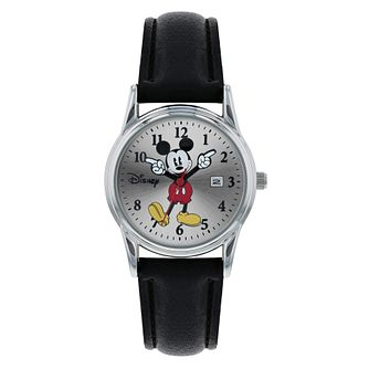 Mickey Mouse Silver Case Black Strap Watch - Product number 9752056